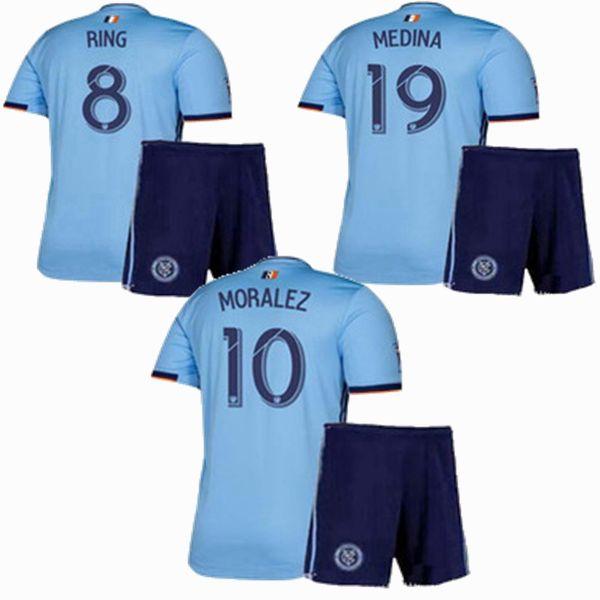 New York 2019 2020 City FC Kids Soccer Jerseys sets Tracksuits 19 20 MORALEZ RING MEDINA football shirt+shorts