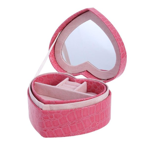 PU Leather Heart Shaped Two-layer Jewelry Box Storage Case Organizer Holder with Mirror