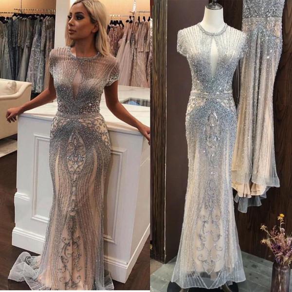 2019 Luxury Sleeveless full diamond o neck Sexy Evening Dresses Dubai Design Beading Evening Gowns