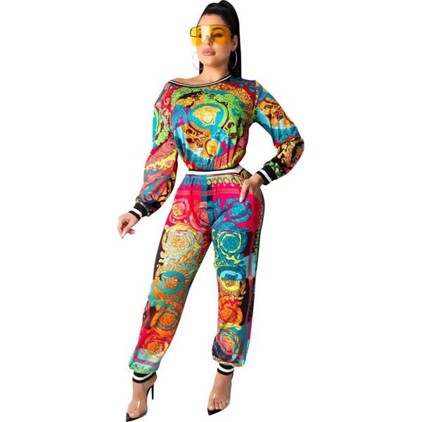 Womens trajes de manga longa 2 peças Jogo da camisa de treino de corrida Sportsuit leggings outfits calças moletom desporto klw2384 vestuário mulheres terno