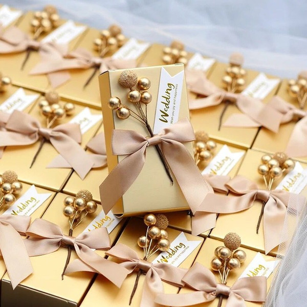 50 Pcs Wedding Favors Pink Golden Unique DIY Bead Flower Square Paper Candy Box Packaging Gift Boxes For Guest Free Shipping Party Supply