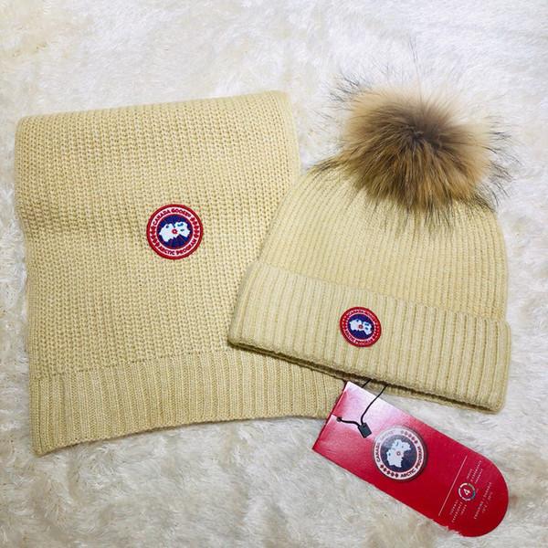 2019 Top Quality Celebrity design Letter Woolen Scarf Hat Men Woman Cashmere wool Fox hair ball hat 2pc 538561 3HE25 1080 017