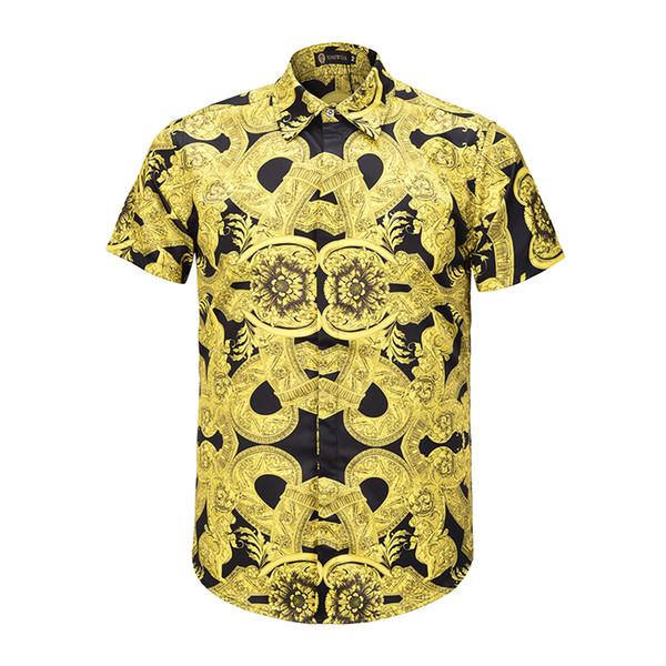 2019 nouvelle mode chemise mince fleur jaune clair Imprimer Casual Medusa Hommes Chemises Bouton Couvert Été Hommes Manches Courtes Chemises M-XXL