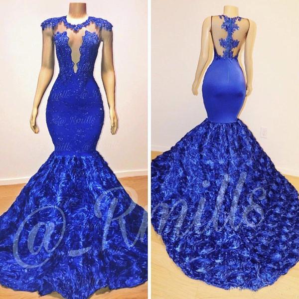 2019 New Royal Blue Cap Sleeves Lace Mermaid Long Prom Dresses Tulle Lace Appliques 3d Floral Evening Gowns Vestidos De Festa Prom Dresses For 2015