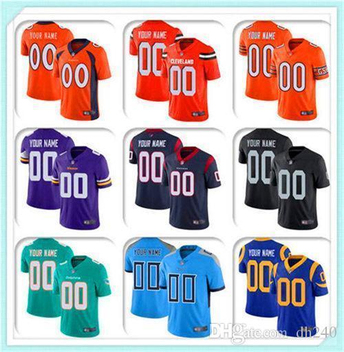 Custom MEN YOUTH KIDS Football Jersey Washington Seattle Houston Dalla 100TH Cowboy Broncos Texans Seahawks redskin sports Colts Bears
