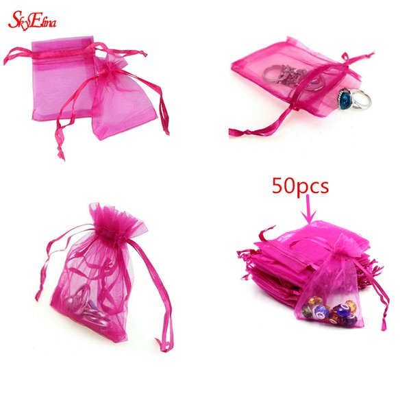 50pcs Drawable Organza Bags Wedding Gift Bags 7X9 small Jewelry Packaging Bag tulle fabric Organza Sheer Bags 6Z