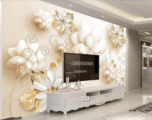 Wllpaper personalizado Para Paredes 3 D jóias flor pérola Sala de estar Quarto Papel De Parede TV Mural 3D Mural Da Parede papel de Parede