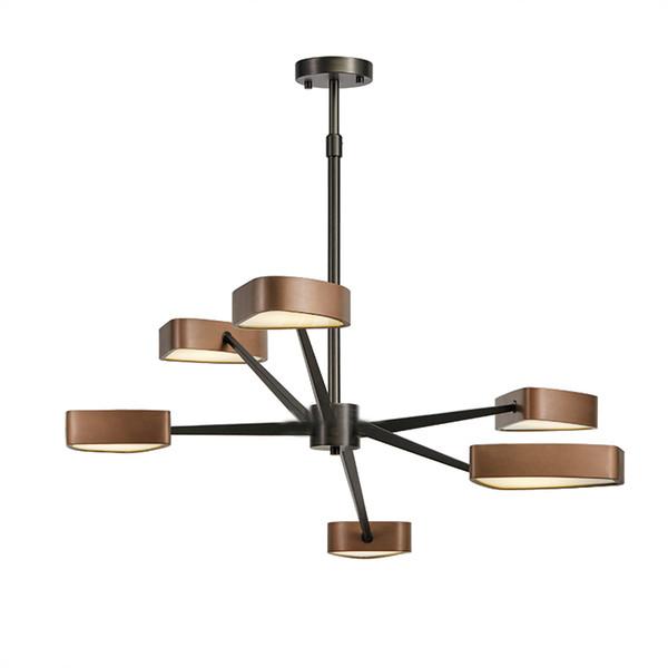 Moderne 6 bras pendentif lumière Creative acier inoxydable suspension or lampe de levage tige magasin à domicile suspension pendant la lampe lustre éclairage de plafond