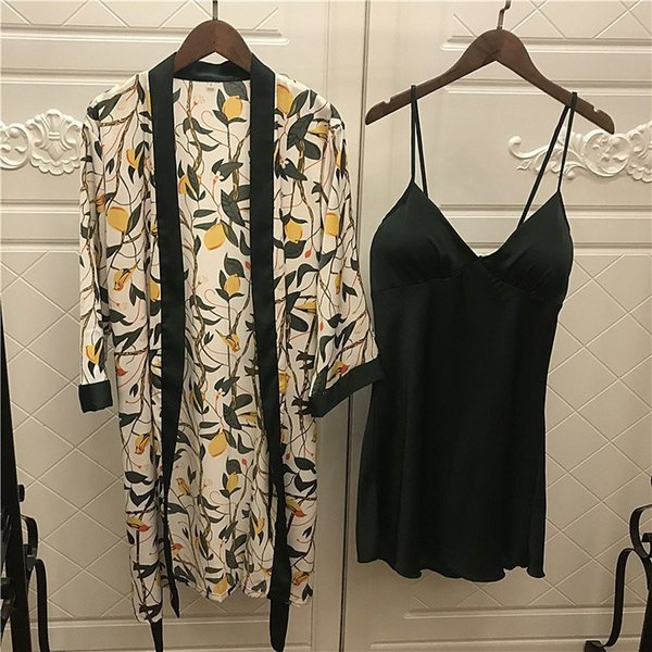 New Spring Summer Deep V-neck Two Piece Gown Sets Women Fashion Floral Print Robe Suits Female Loose Sexy Outfits