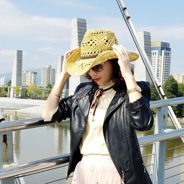 2019 nouveau chapeau de paille de style chaud avec la conception de ficelle de papier bohème évidé chapeau d'été chapeau de cowboy occidental pour dame fcmZC-157