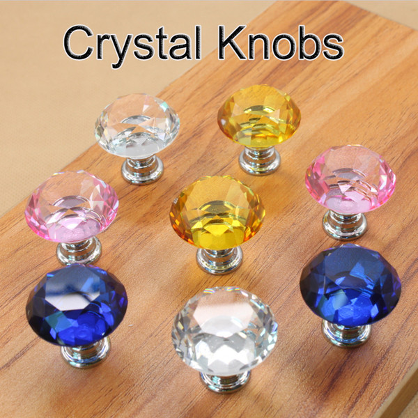 best selling 30mm Diamond Crystal Door Knobs Glass Drawer Knobs Kitchen Cabinet Furniture Handle Knob Screw Handles and Pulls