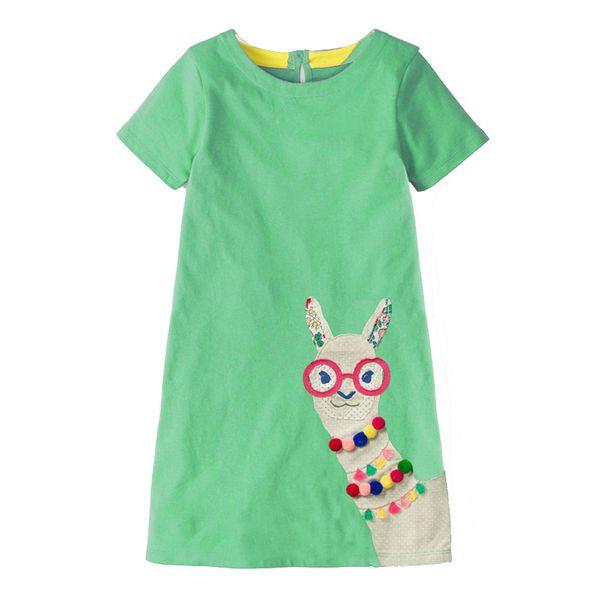 Kidsalon Girls Cotton Tunic Dress Designer Kids Clothes Summer Princess Dress Cartoon Alpaca Appliques Children Costume for Kids Dresses