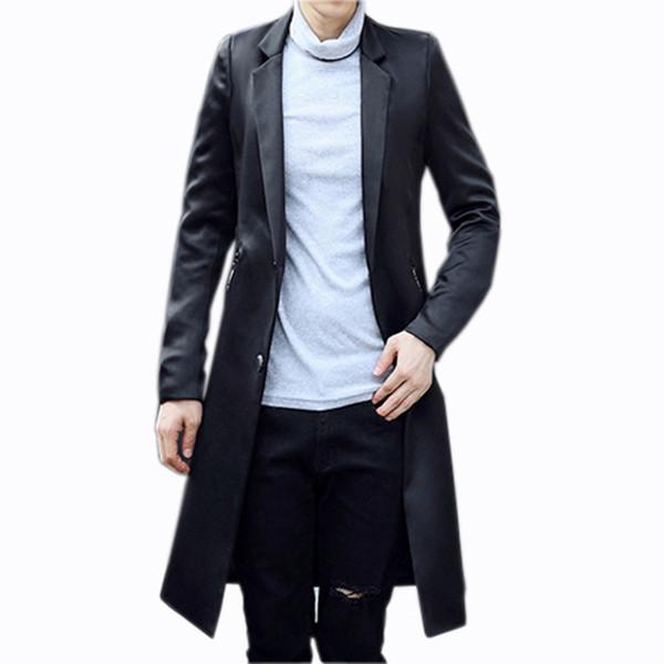 Nouvelle Arrivée De Mode Haute Qualité Printemps Et Automne Costume Col Coupe-Vent Hommes Manteau Longue Veste Casual Taille MLXL XXL 3XL 4XL