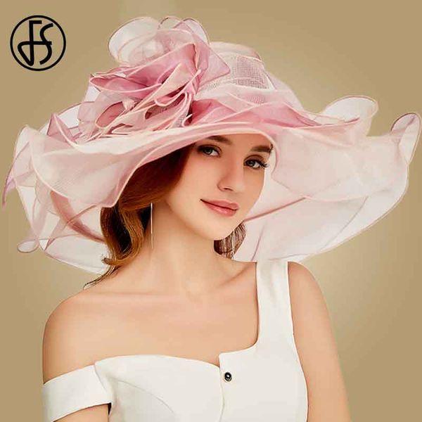 wholesale 2019 New Women Fashion Summer Organza Sun Hats For Women Flowers Elegant Hat Large Wide Brim Ladies Church Vintage Fedoras