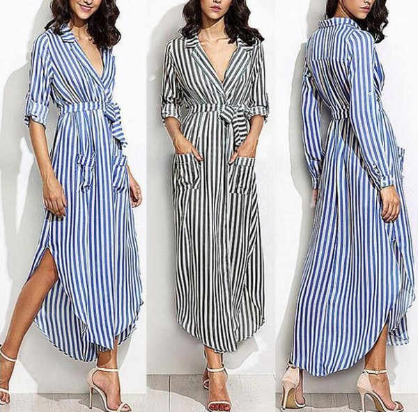 Women Elevertical Striped Long Shirt Dress Cardigan Ladies Lapel Long Sleeve Split Maxi Dresses With Belt Vestido
