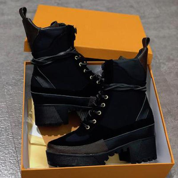 2019 new Designer boots Women Desert Boot chunky heel Martin shoes Print Leather Platform Desert Lace-up Boot 13 colors with box Size 35-42