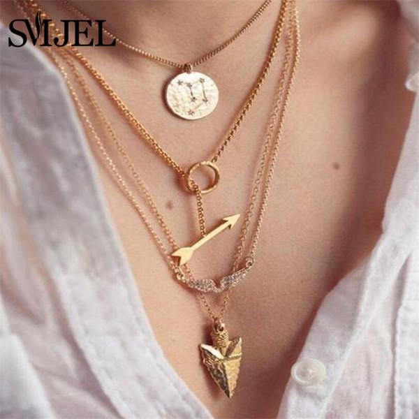 SMJEL Gold Multi-layer Arrow Sweater Chain Long Pendants Necklaces Scale Piece Angel Wings Arrow Model Pendant Choker Jewelry