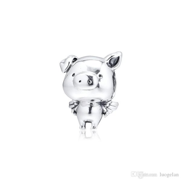 2019 Original 925 Sterling Silver Jewelry Pippo the Flying Pig Charm Beads Fits European Pandora Bracelets Necklace for Women Making