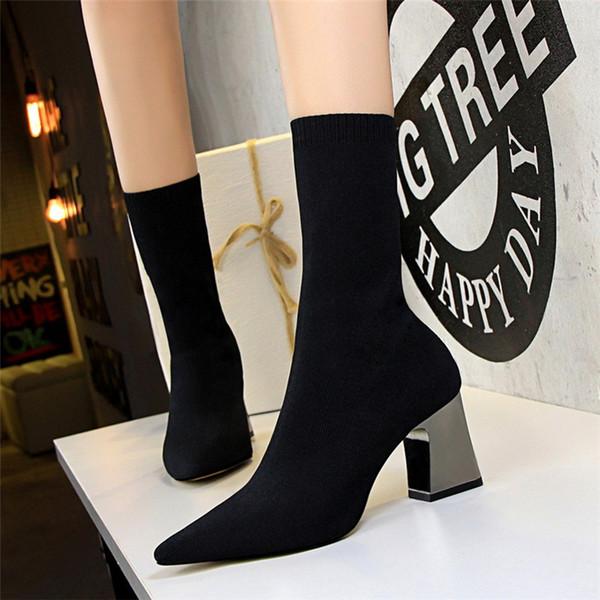 Kadın ayakkabı yüksek topuklu çizmeler kadın çorap çizmeler ayakkabı kadın siyah çizmeler İtalyan ayakkabı kadın tasarımcılar zapatos de mujer botas mujer invierno