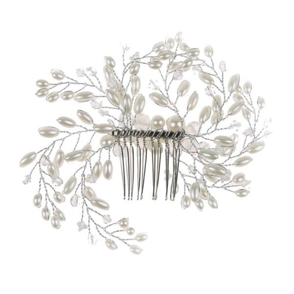 Tiara hecha a mano accesorios para el cabello peine de la novia de dama de honor de la boda accesorios para el cabello de perlas de imitación adorno de la joyería romántica coroa