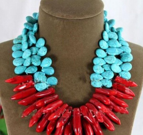 necklace Free shipping ++++906 Exaggerate Choker Necklace Turquoise Water-drop Natural Red Coral Branch Woman
