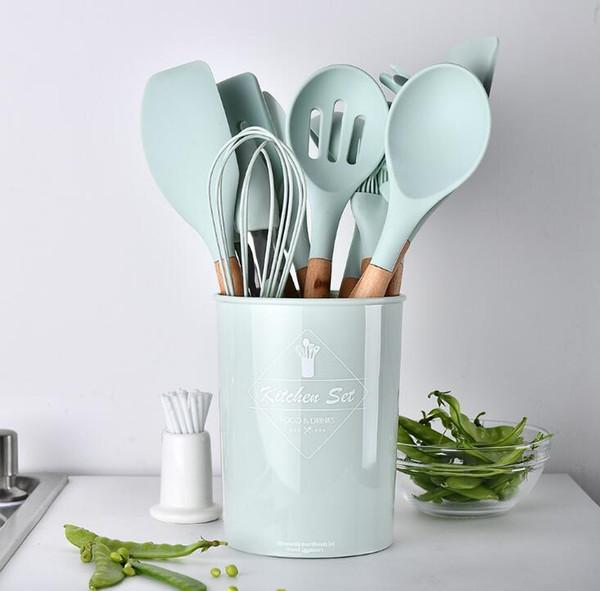 Gelişmiş silikon ahşap saplı 12 parça set pişirme aracı set mutfak şef saklama kutusu ile spatula kaşık set mutfak pişirme pişirme araçları