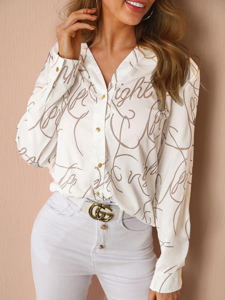 2019 Otoño Mujer Elegante Básico Top Mujer Con cuello en v Elegante Ocio Ropa de trabajo Blusa Letra Imprimir Botón a través de Camisa casual