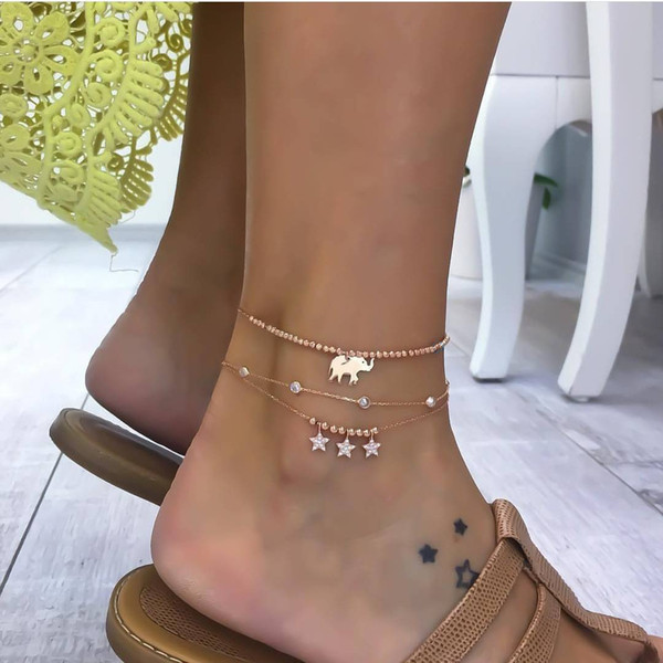 Bohemia Elephant Shell Sun Starfish Multi-layer Ankle Bracelet Unique Women Blue Bead Flower Beach Chain Anklet Summer Jewelry 3 Pcs/set