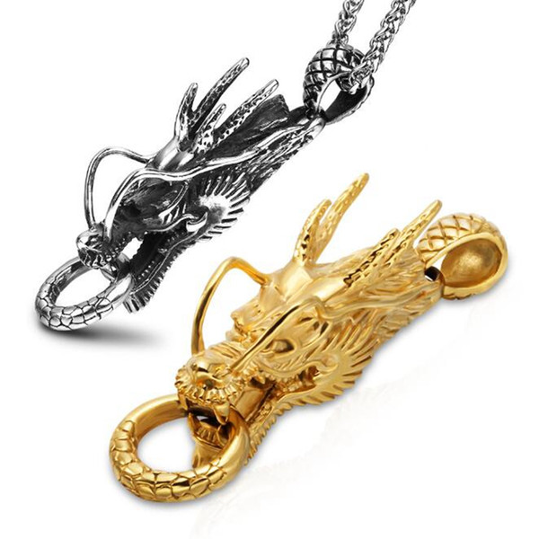 Chinese Dragon Head Power Symbol Pendants New Men Necklace 316L Stainless Steel 18K Gold Plated Jewelry