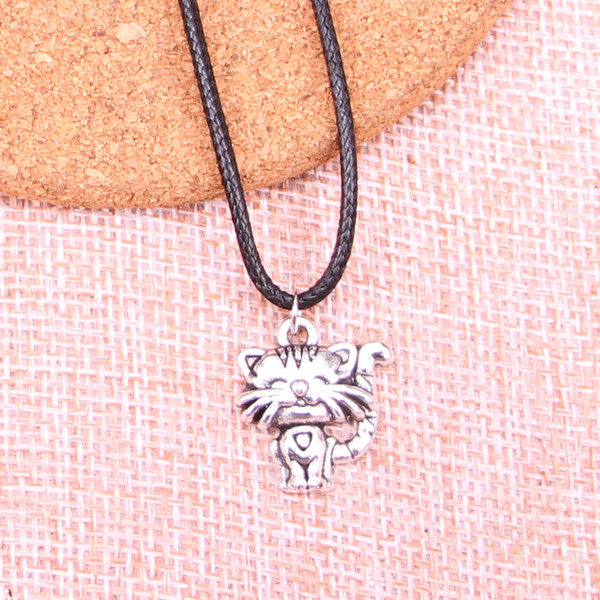 New Durable Black Faux Leather Antique Silver 19*17mm smiling cat Pendant Leather Chain Necklace Vintage Jewelry Dropshipping