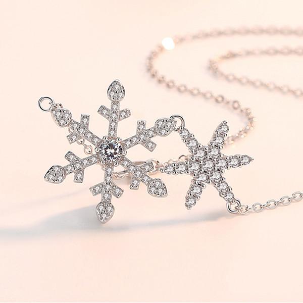 925 Sterling Silver Floco De Neve de Natal Pingente de Estrela Colar de Jóias Completo Cubic Zirconia Inlay Namorada Mulheres Criança Presente de Natal