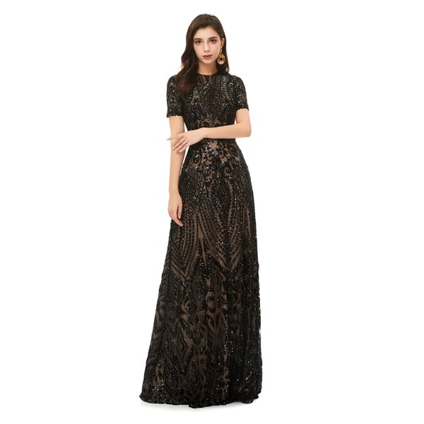 Simple Black Sequined Lace Evening Dress,Plus Size Bridal Mother Dress  Black Long Lace Prom Dress Dress Prom Dresses Sale From Yahtop, $95.48| ...