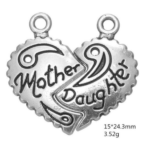 50 paia a forma di cuore dentellato a due petali impiombatura Madre Figlia ciondoli a forma di cuore pendenti per collana braccialetto orecchino fai da te creazione di gioielli