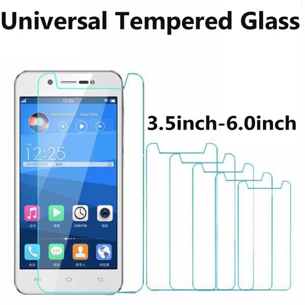 Universel en verre 3.5 4.0 4.3 4.5 4.7 5.0 5.3 5.5 5.7 6.0 Protecteur d'écran en verre trempé universel pour iphone samsung huawei
