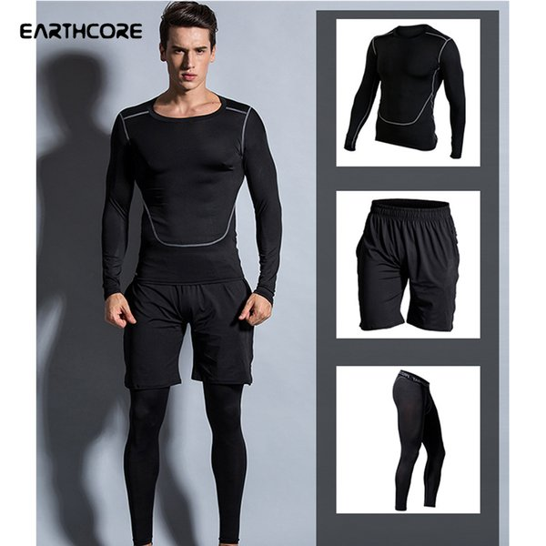 Men Elastic Compression Sportswear Patchwork Sport Tops Shorts Tight Trousers Male Basketball Run Training Jogging Sports Wear