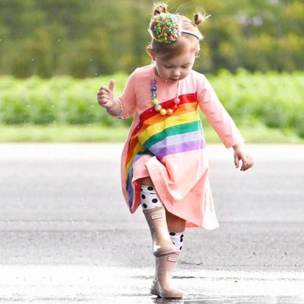 Niño Bebé Niños Niñas Vestidos lindos para niñas Vestido de otoño de princesa Vestido de princesa con estampado de bordado de arco iris de manga larga