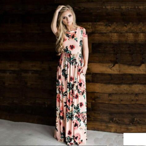 New Summer Dresses Women Floral Printed Short Long Sleeve Boho Dress Evening Gown Party Long Maxi Petticoat Womens Clothing size S-3XL