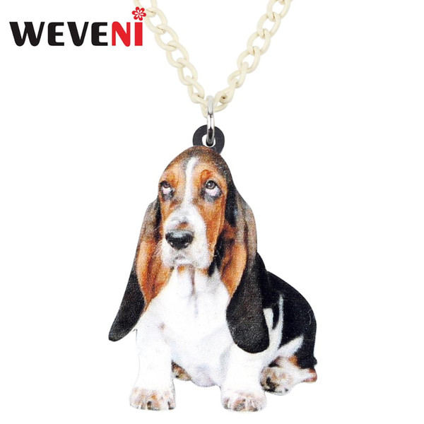 WEVENI Acryl Basset Hound Dog Halskette Anhänger Kette Kragen Tier Schmuck Für Frauen Mädchen Pet Lovers Geschenke Zubehör Bijoux