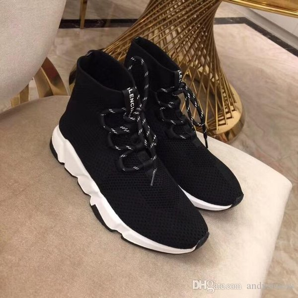 Fashion Lace-up Triple Black White Glitter Flat Runner sock shoes speed trainer casual ankle boot women platform Sports Sneakers 35-40