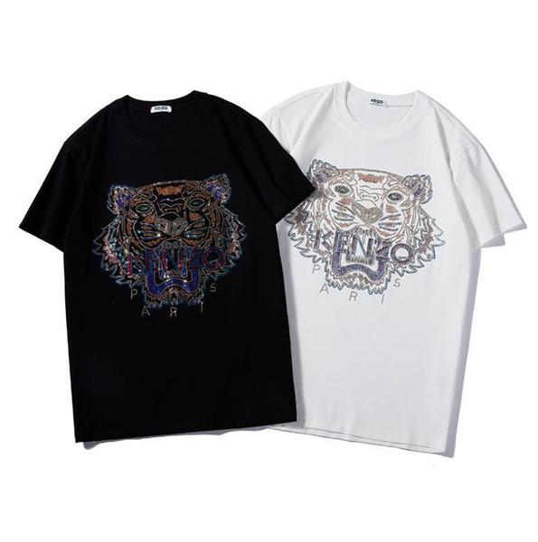 Yaz Marka tişört Tiger Kafa Baskı Nefes Kısa Kollu Erkek Tee Gömlekler Moda Kadınlar ile Erkekler tişörtleri için S-2XL 2 Renkler Tops