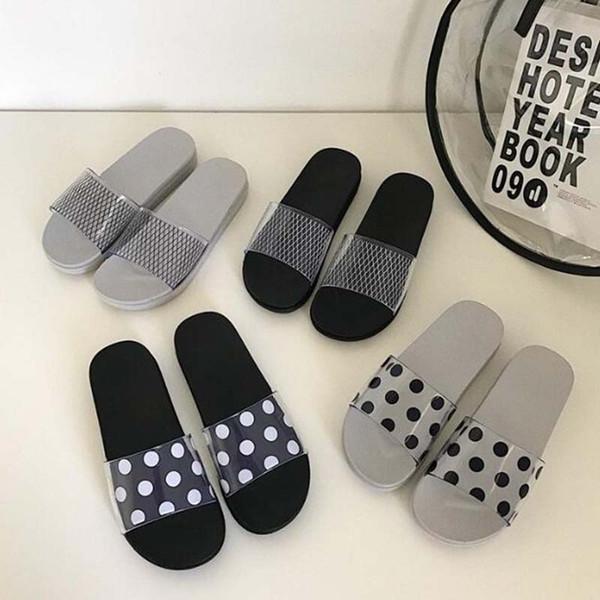 Summer Slippers Shoes Woman 2019 Polka Dots Transparent Peep Toe Flip Flops Clear Women Outdoor Flat Beach Slides