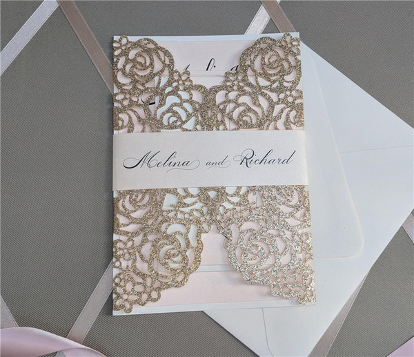 best selling Laser Cut Invite for Wedding, Glitter Rose Gold Wedding Invitations with Belly Band Free Printing