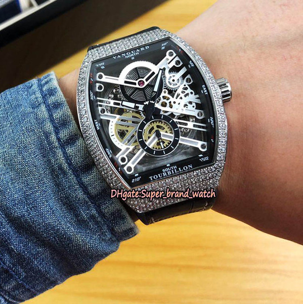 High Quality Men's Collection Vanguard V 45 S6 SQT NR BR (NR) silvery Skeleton Dial Automatic Mens Watch Silvery Diamond Case Sport Watches