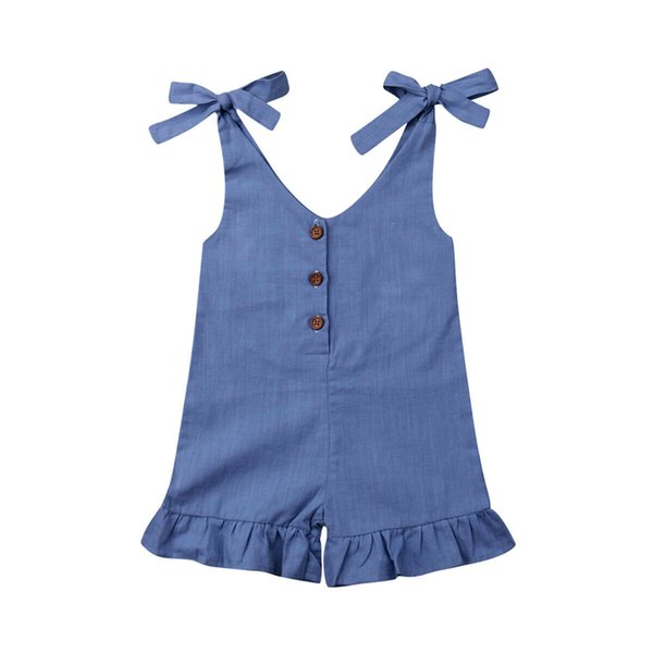 Kids Baby Girl Romper Summer Solid Ruffle Romper Kids Jumpsuit Overalls Outfits Sunsuit One Piece Clothes Toddler Jumpsuit 1-6Y