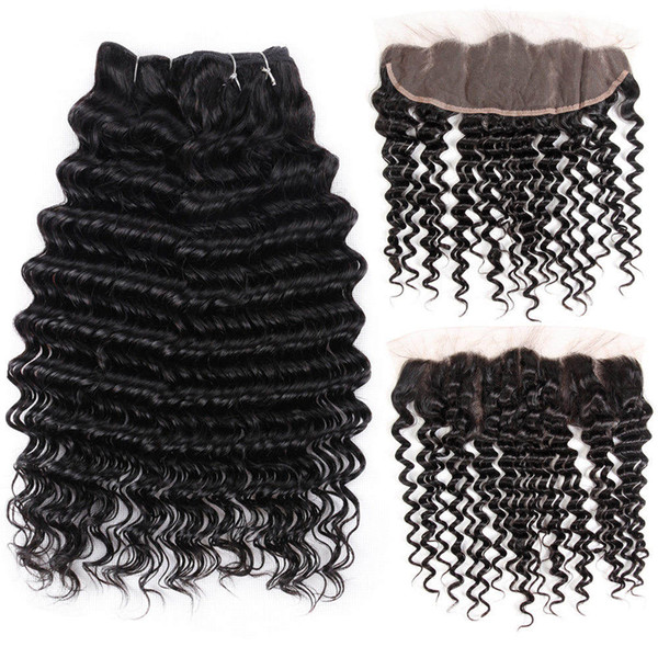 8A Brazilian Kinky Kinky Bundles With Closure 100% Human Hair Lace Frontal Closure With Bundles Deal Deep Wave Water Wave Body Straight