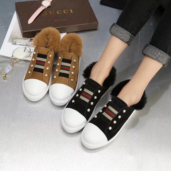 Ting2594 6243 Novo Pérola de Pele De Coelho Casuais Sapatos De Pele Sneakers Sapatos de Skate de Dança de Ballerina Flats Loafers Alpercatas cunhas