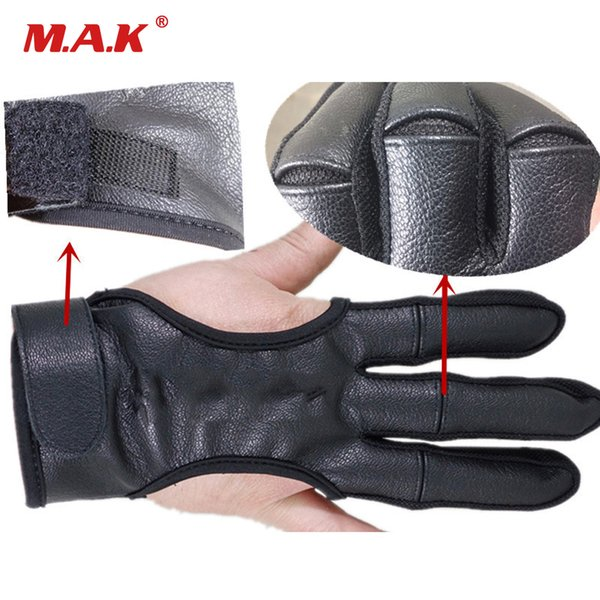3 fingers hand archery protective glove leather black guard glove safety archery gloves for recurve compound bow shooting thumbnail