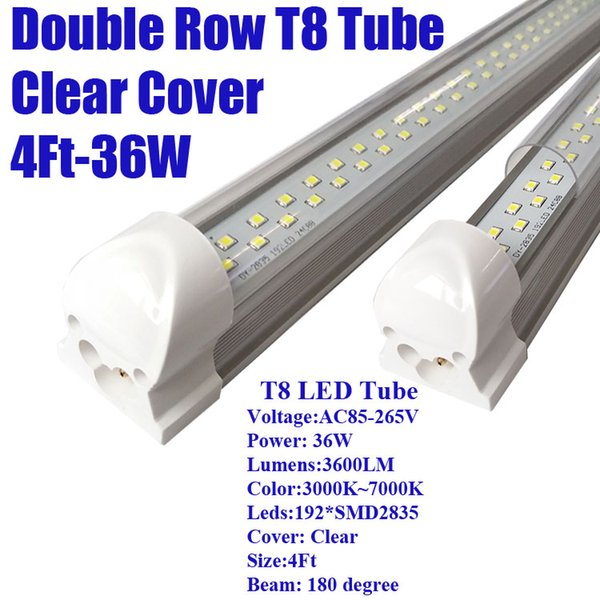 4Ft 36W Double Row Clear Cover