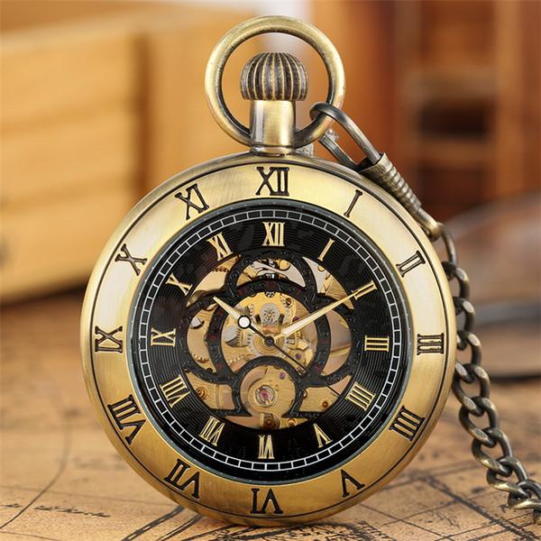 Roman Numerals Display Mechanical Pocket Watch Hand-Winding Luxury Pendant Clock Bronze/Black/Silver Steampunk Fob Chain