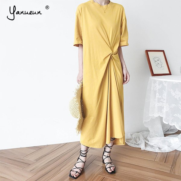 Yanueun Casual Irrégulière Robe Femmes Plissée Robe solide Printemps Eté Nouvel Élégant De La Mode Coréenne Des Robes En Vrac
